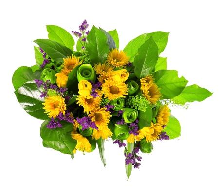 yellow tea pot: basket of roses, tulips and limonium