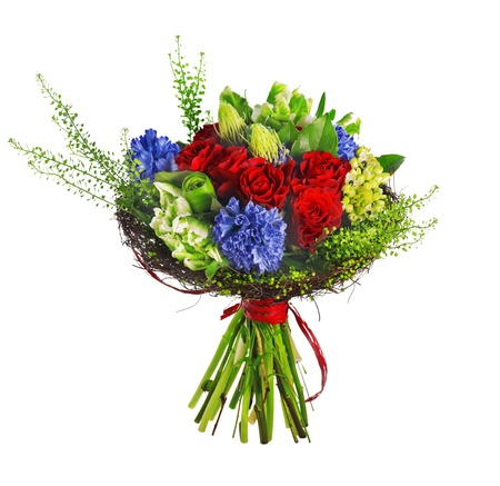 bouquet of roses, hyacinthus and greens, isolated over a white background