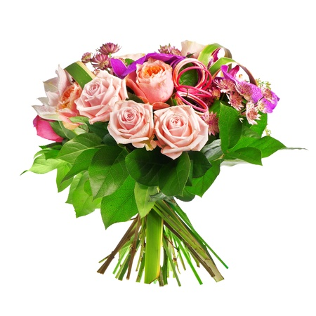 bouquet of rose, paeonia and orchid isolated over a white background