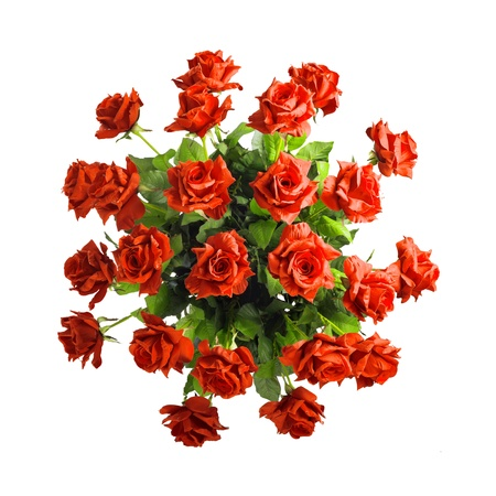 top angle view: bouquet of red roses isolated on white background Stock Photo