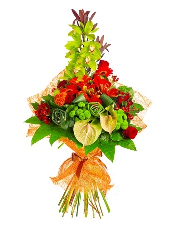 anthurium: bouquet of rose, gerbera, orchid and anthurium, isolated over a white background