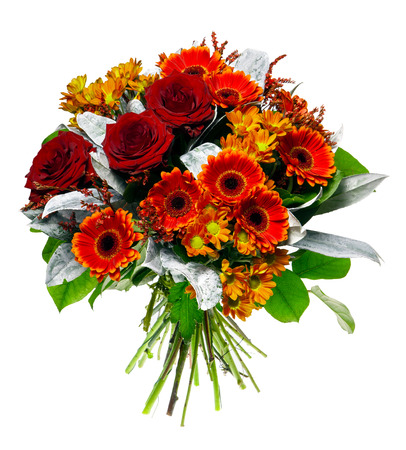 Beautiful bouquet of gerberas and roses Stock Photo
