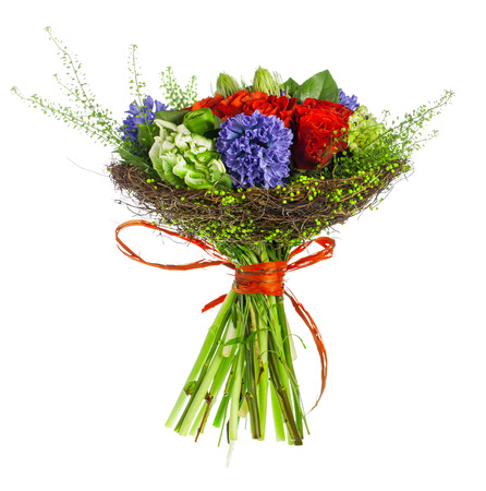 hyacinthus: bouquet of roses, hyacinthus and greens Stock Photo