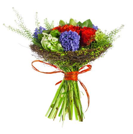 hyacinthus: ramo de rosas, hyacinthus y verdes Foto de archivo