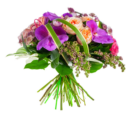 ferns and orchids: bouquet of roses, paeonia and orchids
