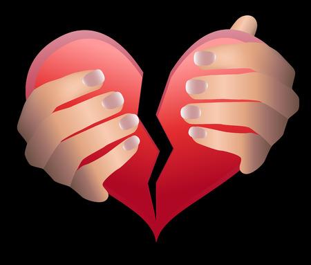 Arme abgerissen Herz gebrochenes Herz