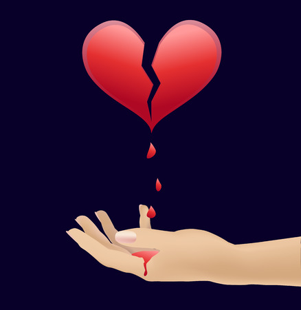 resentment: from the heart blood dripping on his hand Illustration