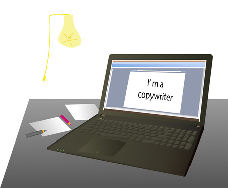 says: the laptop on the table, it says: Im a copywriter