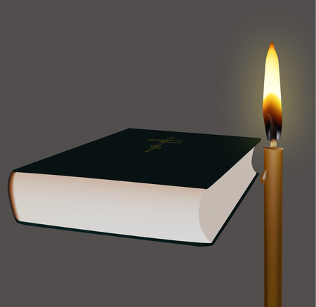 easter candle is burning: Bible and candle on a black background vector illustration