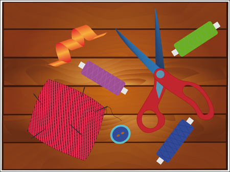 sewing accessories: sewing accessories on the boards Illustration