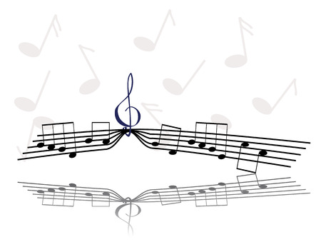 trill: Notes hanging on the treble clef illustration