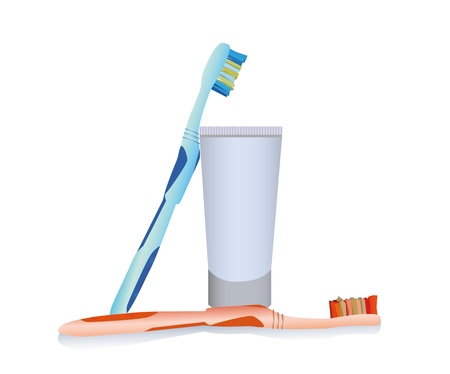 toothpaste and two toothbrushes illustration on white background Çizim