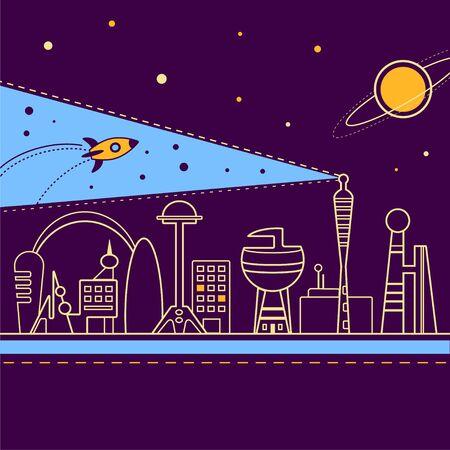 Vector illustration of an alien fantastic city