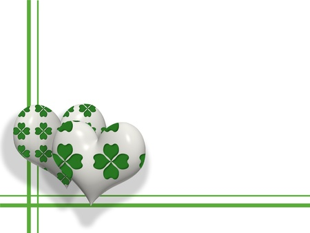 St. Patrick&acirc,%uFFFD%uFFFDs Day decoration or grating card with 3D white hearts and four leaves shamrock pattern on them.