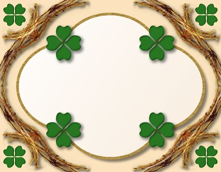 St. Patrick's Day decoration or grating card with four leaves shamrocks Stock Photo - 8885090