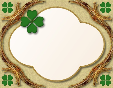 St. Patrick's Day decoration or grating card with four leaves shamrocks Stock Photo - 8885094