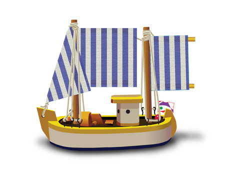 wood craft: Little fishing ship model isolated on a white background. Illustration