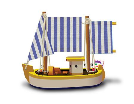 Modèle de navire de pêche peu isolé sur un fond blanc.