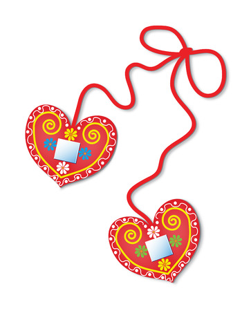 Two colorful gingerbread hearts decorated with flowers and mirrors. Stock Vector - 8885092