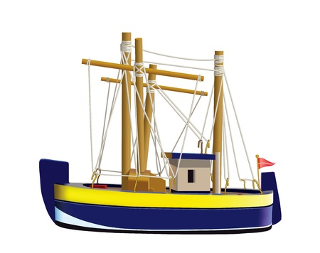 trawler net: Little fishing ship model isolated on a white background. (Used mesh and blend tool). Illustration