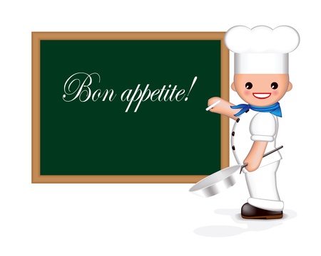 """cook griddle: Happy chef is holding a pan in one hand and chalk in the other. He is writing """"Bon appetite!"""" on the blackboard. (You can add your own text). Used blend tool."""
