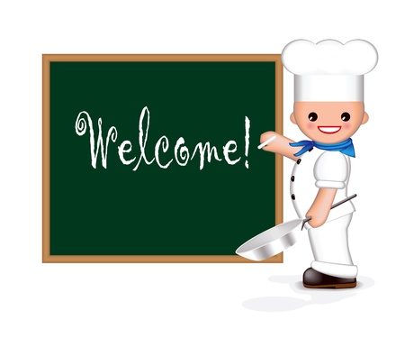 cook griddle: Happy chef is holding a pan in one hand and chalk in the other. He is writing �Welcome!� on the blackboard. (You can add your own text). Used blend tool. Illustration