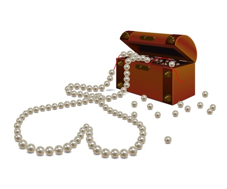jewelry boxes: Broken pearl necklace in the shape of a heart and a small old wooden chest with pearls  On a white background   Illustration