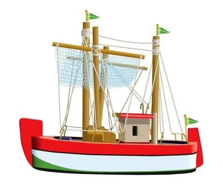 modelo: Pouco modelo do navio de pesca isolado em um fundo branco Usado malha e uma ferramenta de mistura