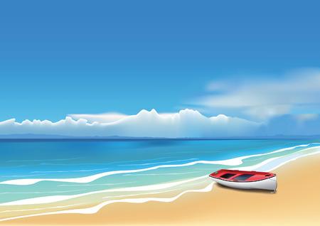 bateau: Vieux bateau rouge sur la belle plage.