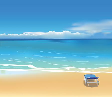 transat: Chaise longue bleu sur belle plage Illustration