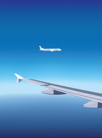 ocean view: Airplane flying over the ocean, view from window of another airplane. Illustration