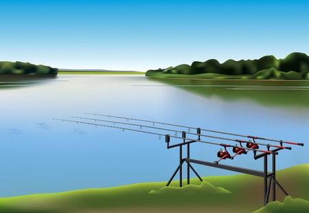 recreational fishermen: Three fishing rods beside the lake.