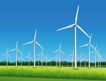 Wind farm - wind-powered electrical generators aerofoil-powered generators in the field in sunny day.