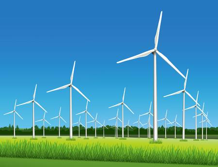 Windmolenpark - wind-aangedreven elektrische generatoren aerofoil-aangedreven generatoren in het veld in zonnige dag. Stock Illustratie