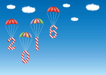 descending: 2016 New Year and Christmas decoration with candy canes in form of digits, descending by parachutes. With copy space. Great for greeting cards. Illustration