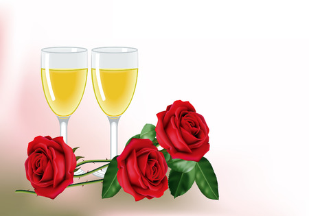 empty space for text: Three beautiful red roses and two glasses of white wine. With empty space for text.