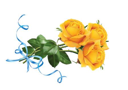 Trois belles roses jaunes avec le ruban bleu. Isolé sur le fond blanc. Banque d'images - 50998799