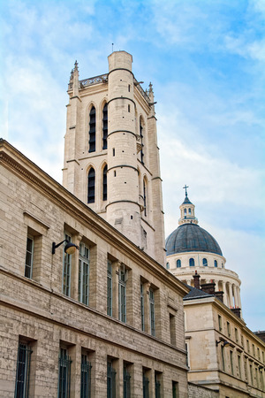 secondary school: Lycee Henri-IV and Clovis bell tower in Paris, France, with Pantheon in the background. The Lycee Henri-IV is a public secondary school in Latin quarter.