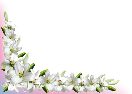 pistil: Greeting card, or wedding invitation, with white lilies.