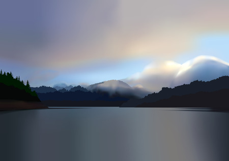 A beautiful sunrise over a calm, tranquil, misty mountain lake. Illustration