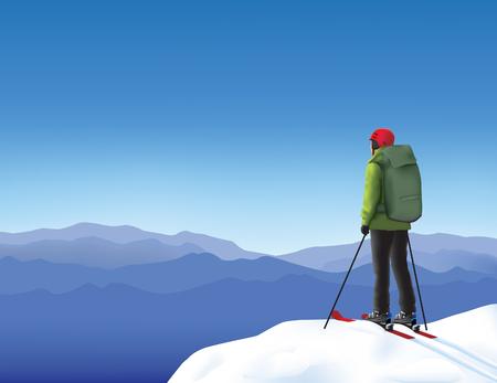 雪の山の中で孤独なスキーヤー高  イラスト・ベクター素材