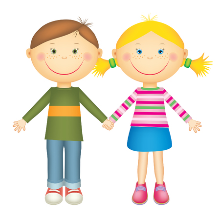 Happy little boy and girl holding hands and smiling. Isolated on white background.