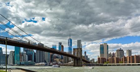 Panoramic view of Brooklyn Bridge and lower Manhattan, New York City, USA Stock fotó