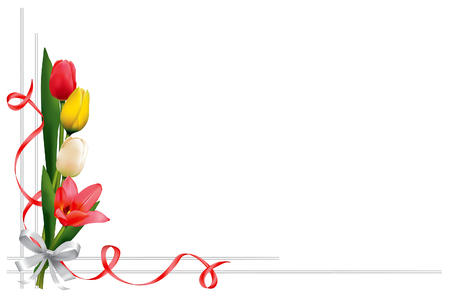 Greeting card or wedding invitation with beautiful tulips. Isolated on a white background. Illustration