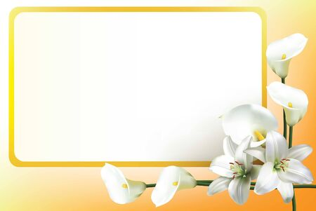 Greeting card, or wedding invitation, with beautiful white lilies and calla lilies Ilustrace