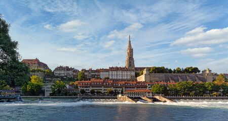 Panorama of old town of Bern, Switzerland in sunny summer afternoon. Banque d'images