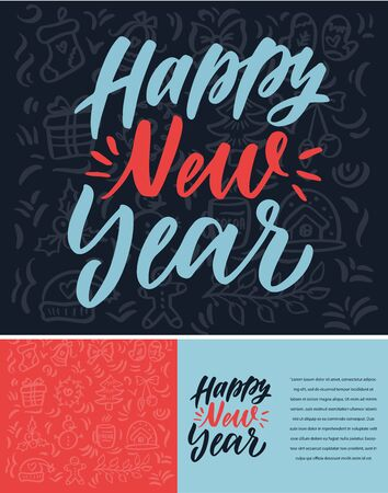 Happy New Year hand drawn lettering. Xmas lettering. Ilustracja