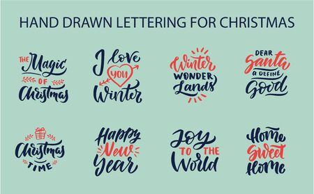 Christmas set hand drawn lettering. Xmas lettering. Calligraphy background. Ilustracja