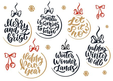 Christmas hand drawn lettering. Xmas lettering. Calligraphy background.