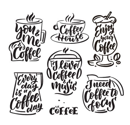 Coffee set hand drawn lettering and doodle composition.